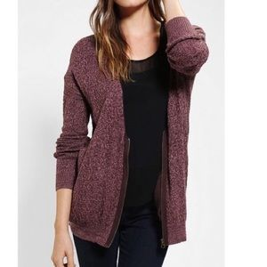 UO Silence + Noise Zip Up Cardigan Sweater